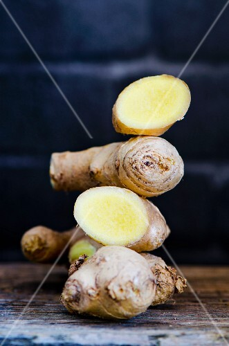 A stack of fresh ginger roots