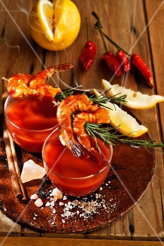 Gazpacho with prawn and rosemary skewers