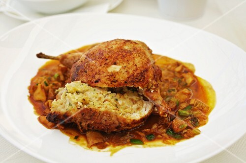 Stuffed spring chicken with chanterelle mushrooms