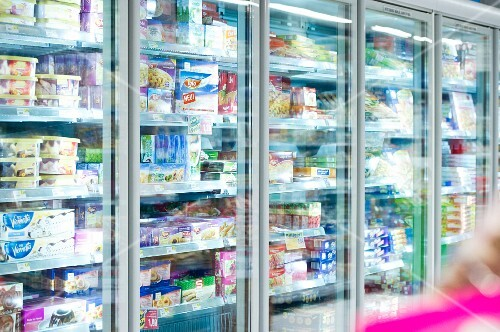Refrigerated shelves in a supermarket