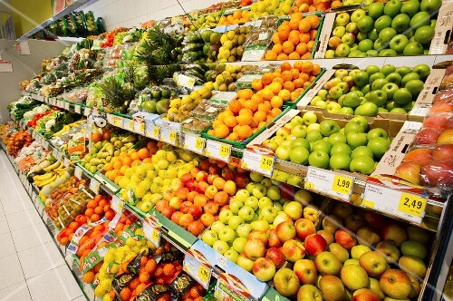A large selection of fruit and vegetables