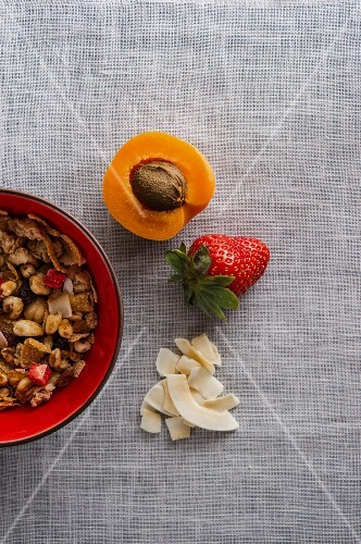 A bowl of muesli next to apricots, strawberries and grated coconut