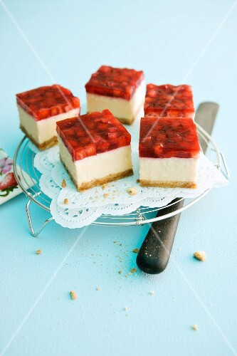Slices of strawberry cheesecake
