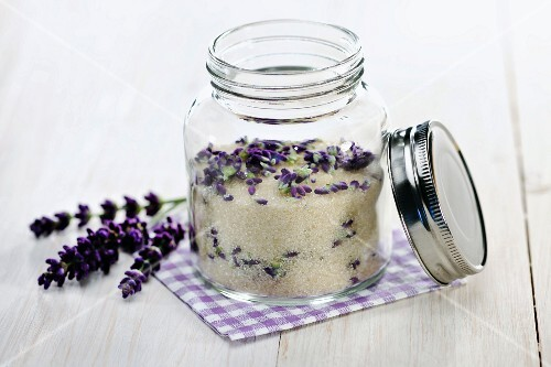 Home-made lavender sugar in a screw top jar