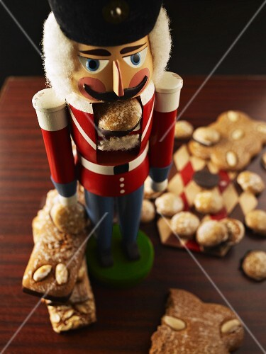 Various types of gingerbread and a nutcracker