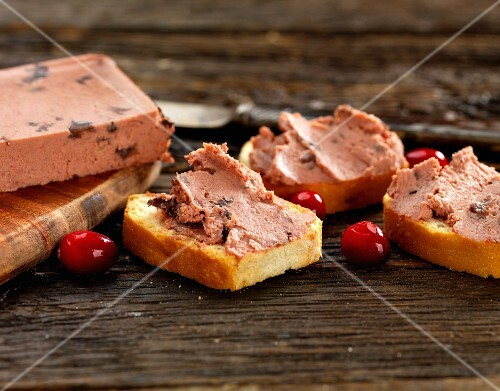 Cranberry pate on bruschetta