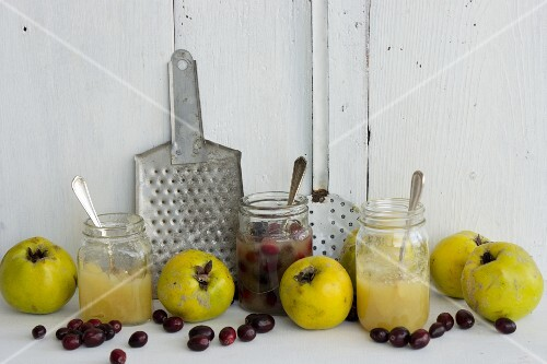 Quinces and various types of quince jam