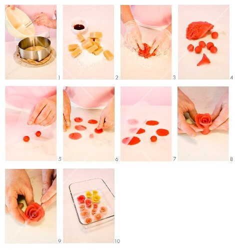 Marzipan roses being made