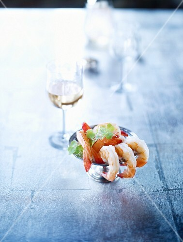 Prawn tails as an appetizer with an aperitif