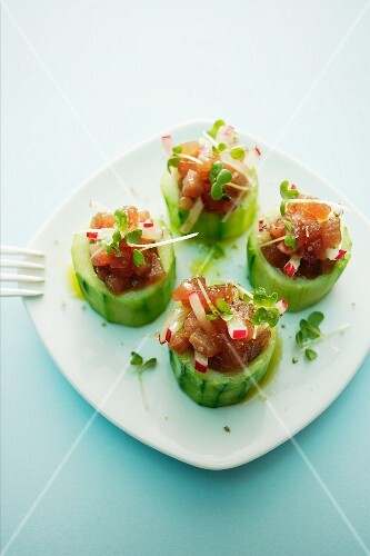 Stuffed cucumber with radishes and tuna