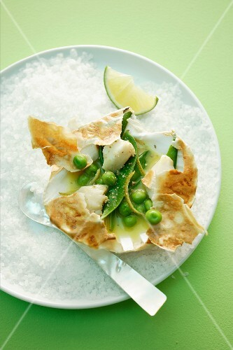 A pea and mange tout medley with scallops