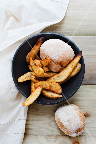 Bread rolls and homemade chips