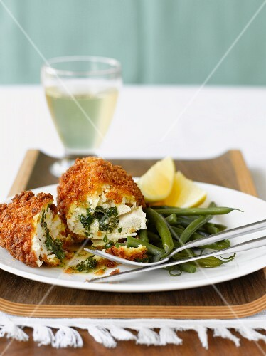 Chicken Kiev with green beans