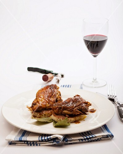 Guinea fowl on grilled bread
