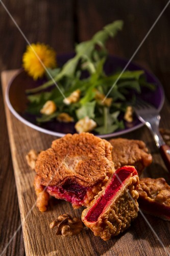 Beetroot escalope with a dandelion salad