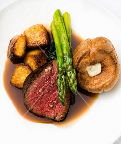 Fillet of beef with roasted potatoes and Yorkshire pudding