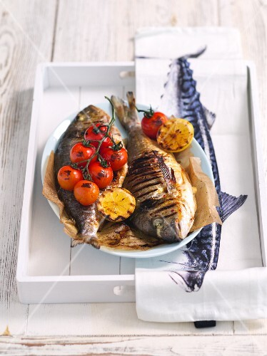Grilled bass with cherry tomatoes