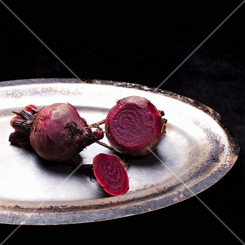 Boiled beetroot on a silver plate