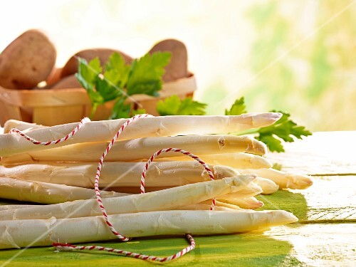 Fresh white asparagus and parsley