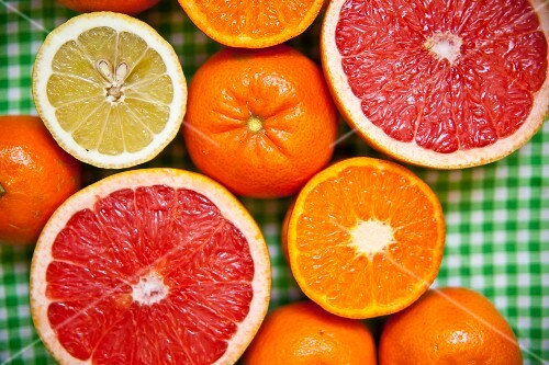 Various types of citrus fruit