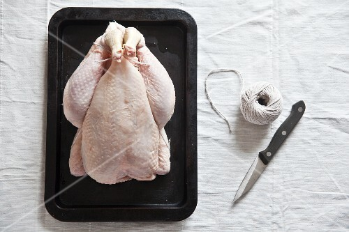 A ready-to-roast organic chicken with a knife and kitchen twine