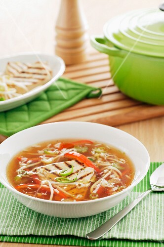 Bean sprout soup with grilled tofu
