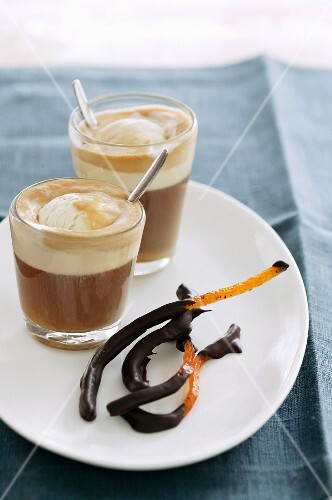 Affogato with candied orange zest