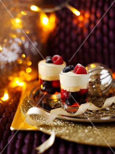 Berry trifles for Christmas