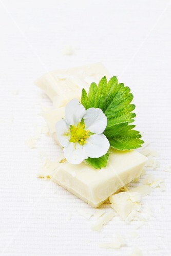 White chocolate with a strawberry flower