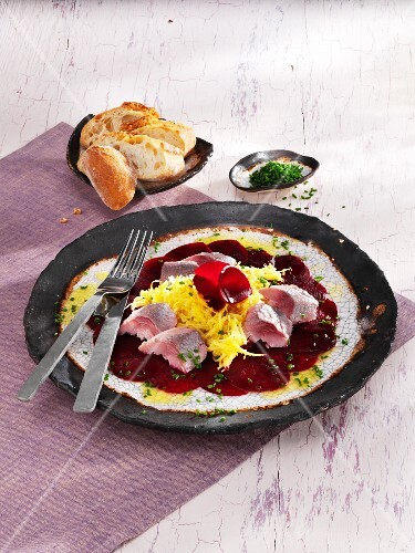 Beetroot carpaccio with golden beets and soused herring