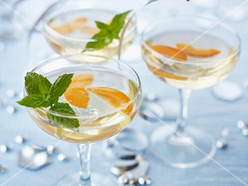 Apricot Fizz garnished with mint leaves