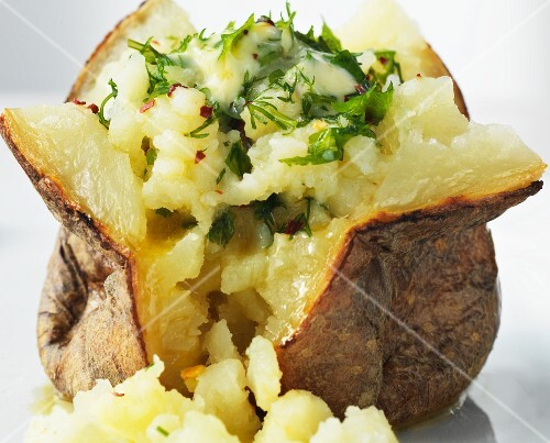 Baked potato with herb butter