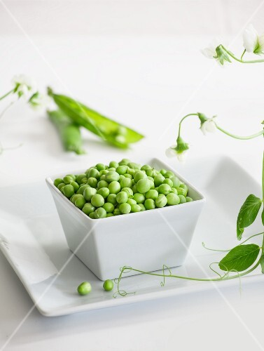 A bowl of peas with pods and vines