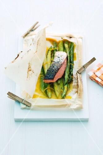 Salmon on green asparagus