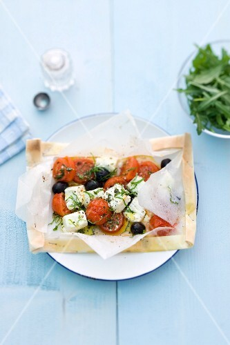 Tomatoes with feta cheese and olives