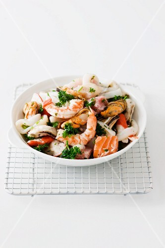 Mixed seafood with fish and parsley