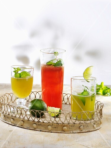 Various lemonades (ginger & mint, watermelon & mint and Mojito)