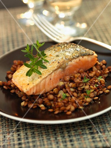 Salmon Fillet Over Lentils