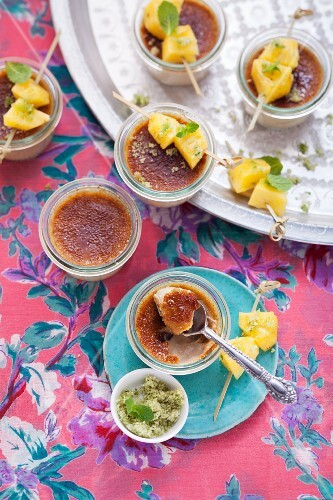 Crème brûlée with pineapple and mint pesto