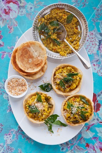 Dhal made from yellow lentils in pastry shells