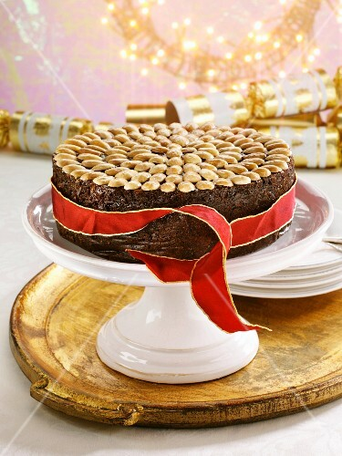 A British Christmas cake on a cake stand