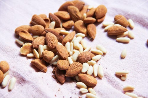 Almonds and pine nuts