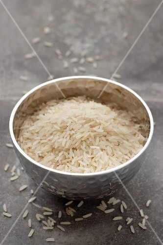 Jasmine rice in a metal bowl