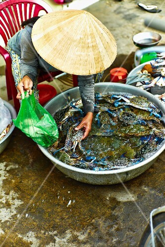 A woman selling fresh blue crabs at a market in Saigon (Vietnam)