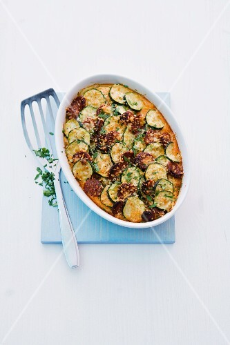 Potato and courgette bake with chorizo