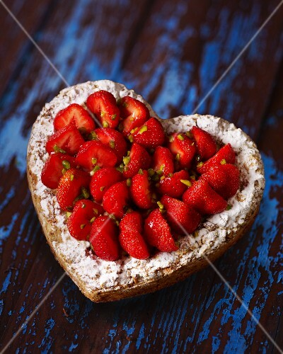 A heart-shaped strawberry cake for Valentine's Day