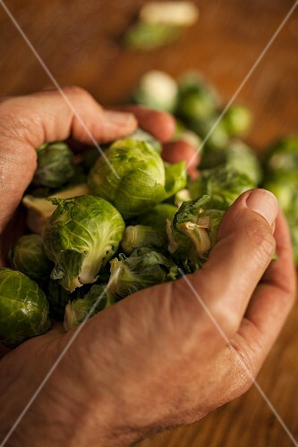 A handful of Brussels sprouts