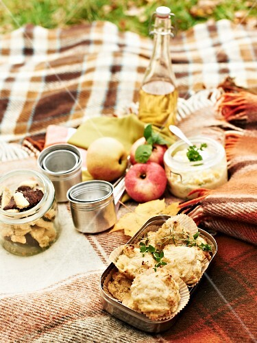 An autumnal picnic with cheese rolls, apples, apple juice, egg salad and biscuits