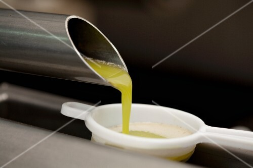 Freshly pressed olive oil flowing from a pie into a sieve