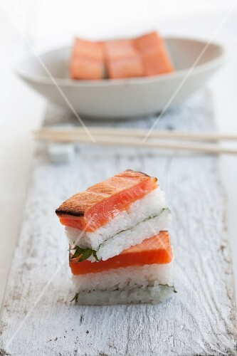 Rectangular salmon sushi